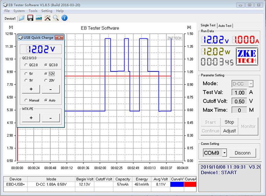 USB ZKEtech EBD-USB+ - управление протоколами быстрого заряда